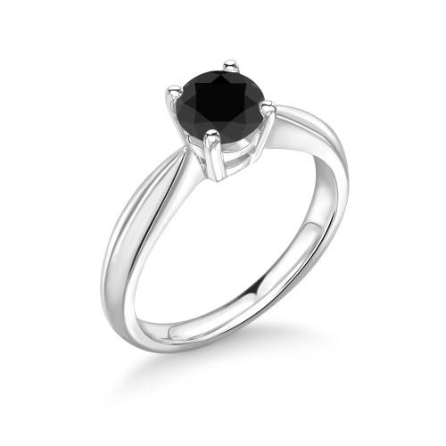 Elegant 4 Prong Set Round Solitaire Black Diamond Ring UK