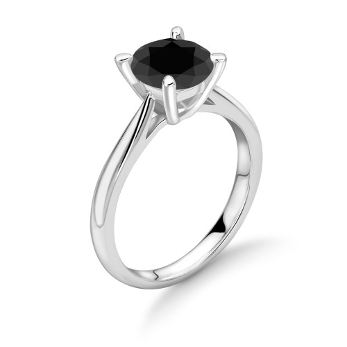 Classic 4 Prong Setting White Gold Black Diamond Ring