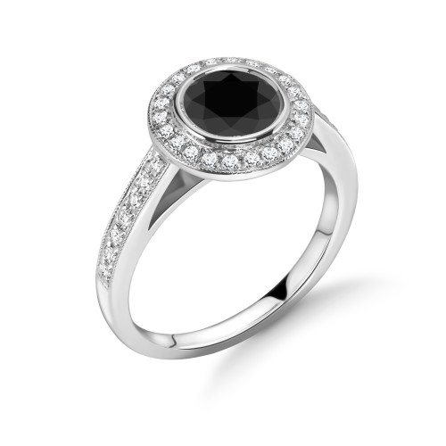 Classic Round Shape Miligrain edge Diamond Black Engagement Rings