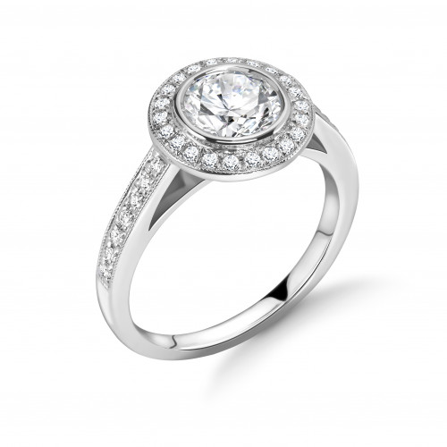 Bezel Setting Round Shape Miligrain Halo Diamond Engagement Rings
