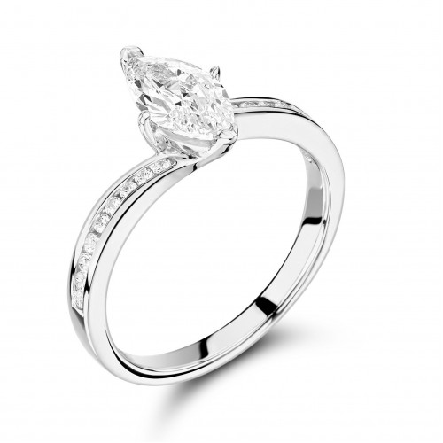 Marquise Diamond Ring Settings With Side Stones On Shoulder Set Diamond Engagement Ring