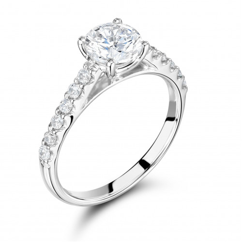 Side Stone On Shoulder Set Accented Round Diamond Engagement Ring Platinum