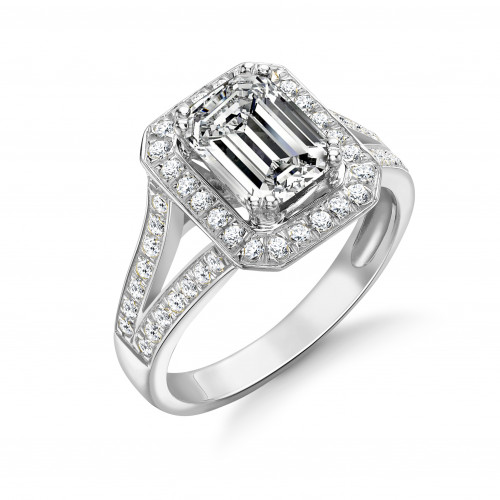 4 Prong Setting Emerald Shape Split Shoulder Halo Diamond Engagement Rings