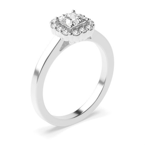4 Prong Setting Princess Shape Exclusive Halo Diamond Engagement Rings
