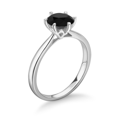 Round Shape White Black Diamond Ring