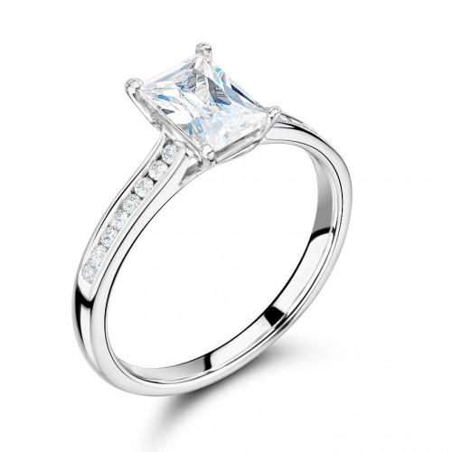 Radiant Cut Side Stone On Shoulder Set Accented Diamond Engagement Ring In White Gold
