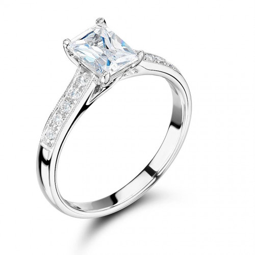 Radiant Cut Side Stone On Shoulder Set Accented Diamond Engagement Ring