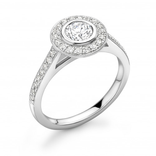 Bezel Setting Round Shape Miligrain Edge Halo Diamond Engagement Rings