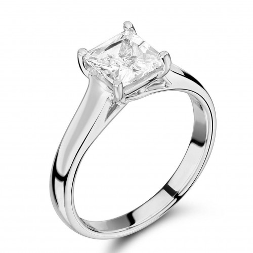 Princess Cut Diamond Ring Platinum Round Solitaire Diamond 4 Claws