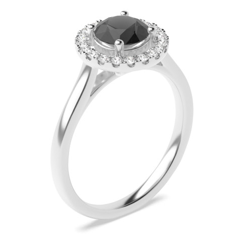 Plain Shoulder Centre Black Diamond Engagement Rings with White Diamonds