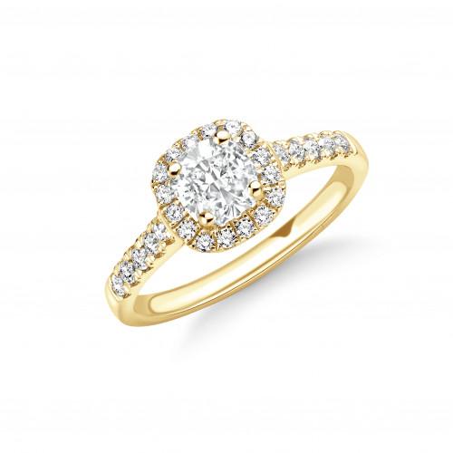 4 Prong Setting Cushion Shape Delicate Seller Halo Diamond Engagement Rings