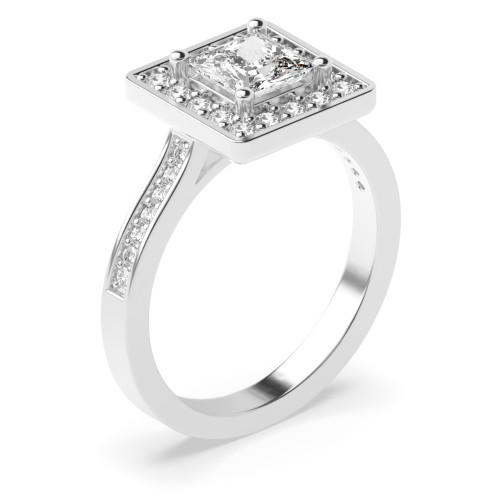 4 Prong Setting Princess Shape Delicate Halo Diamond Engagement Rings