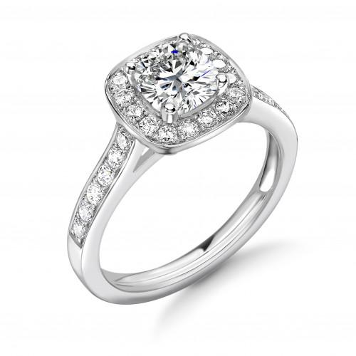 4 Prong Setting Cushion Shape Pave Halo Diamond Engagement Rings