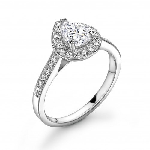 4 Prong Setting Pear Shape Pave Halo Diamond Engagement Rings