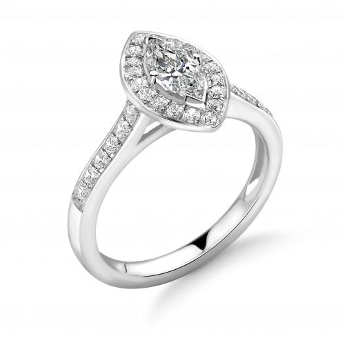 4 Prong Setting Marquise Shape Pave Halo Diamond Engagement Rings