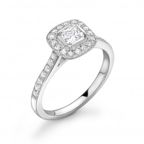 Bezel Setting Asscher Shape Pave Halo Diamond Engagement Rings
