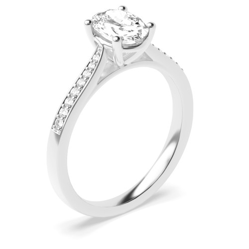 4 Prong Setting Oval Shape Tapering Shoulder Halo Diamond Engagement Rings