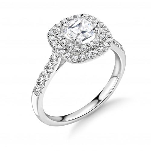 4 Prong Setting Asscher Shape 2 Raw Halo Diamond Engagement Rings