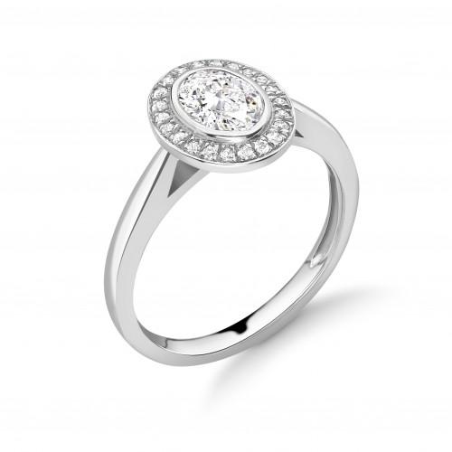 Bezel Setting Oval Shape Classic - Best Seller Halo Diamond Engagement Rings
