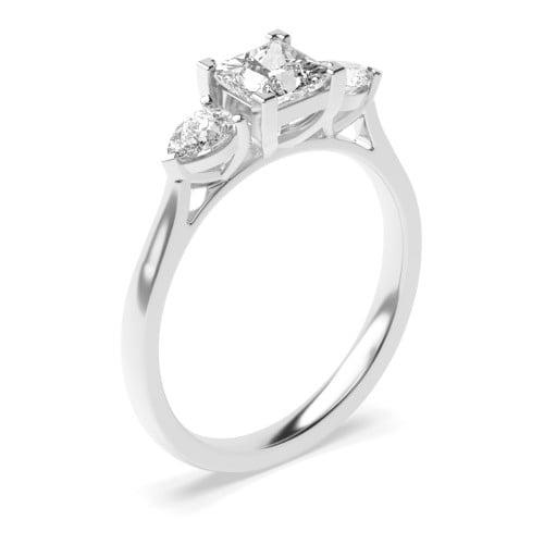 Princess & Pear Diamond Trilogy Engagement Rings for Women