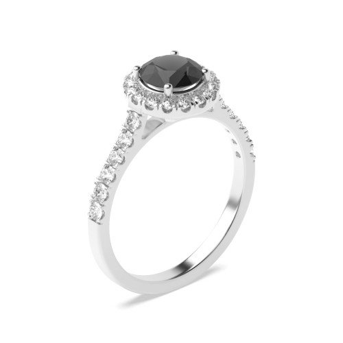 Classic and Minimalist Pave Set Halo Black Diamond Engagement Rings