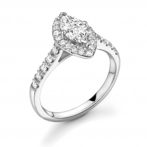 4 Prong Setting Marquise Shape Circle of Diamond Halo Diamond Engagement Rings