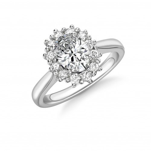 4 Prong Setting Oval Shape Flower Halo Diamond Engagement Rings