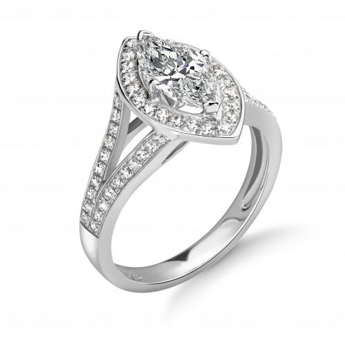 4 Prong Setting Marquise Shape Split Band Halo Diamond Engagement Rings