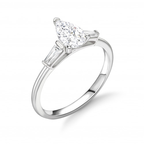 Pear Shape And Tapered Baguette on Side Diamond Engagement Rings
