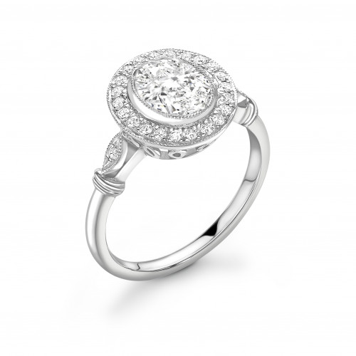 Bezel Setting Round Shape Vintage Style Miligrain Halo Diamond Engagement Rings