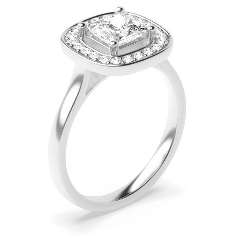 Prong Setting Princess Shape Classic Popular Halo Diamond Engagement Rings