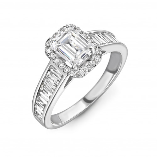 Prong Setting Emerald Shape Baguette on Shoulder Halo Diamond Engagement Rings