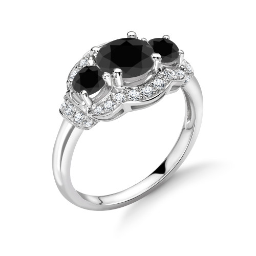 Vintage Style Gorgeous Halo Trilogy Black Diamond Engagement Rings