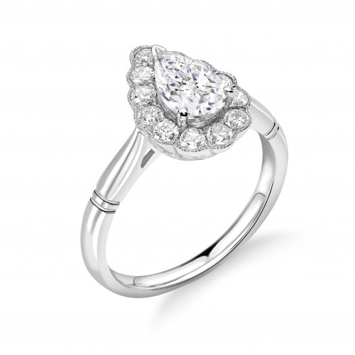 Prong Setting Pear Shape Vintage Miligrain Style Halo Diamond Engagement Rings