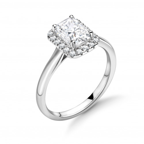 Prong Setting Radiant Shape Plain Shoulder Halo Diamond Engagement Rings