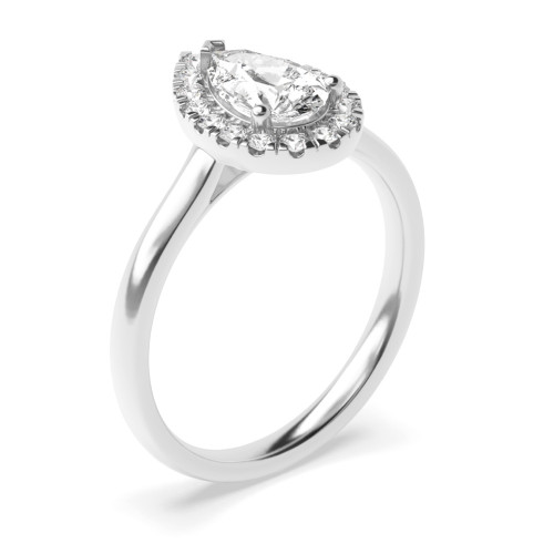 Prong Setting Pear Shape Plain Shoulder Halo Diamond Engagement Rings