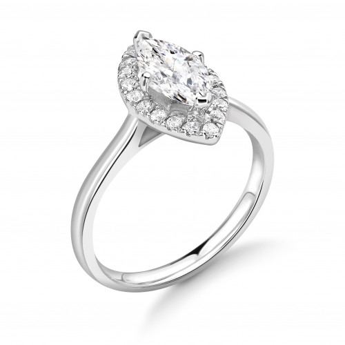 Prong Setting Marquise Shape Plain Shoulder Halo Diamond Engagement Rings