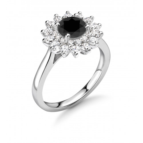 Two Raw Flower Halo Engagement Black Diamond Rings