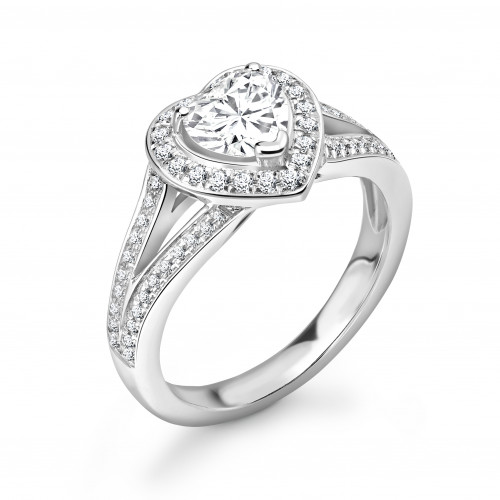 Prong Setting Heart Shape Minimal Halo Diamond Engagement Rings