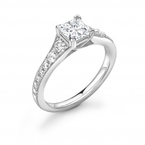 Tapering Up Shoulder Princess Diamond Engagement Ring in Gold and Platinum
