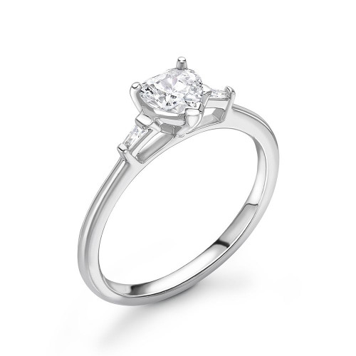 Heart and Baguette Diamond Trilogy Engagement Rings