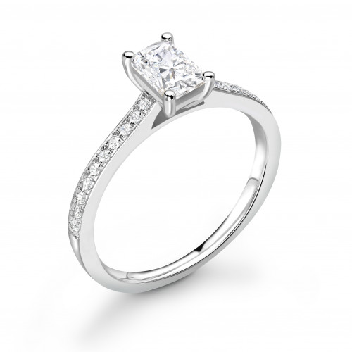 Delicate Radiant Shape Pave Setting Shoulder Diamond Engagement Ring