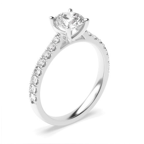 Delicate Tappering Down Shoulder Side Stone Diamond Engagement Rings