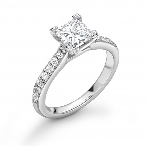Round Shape Pave Setting Wide Shoulder Diamond Engagement Ring