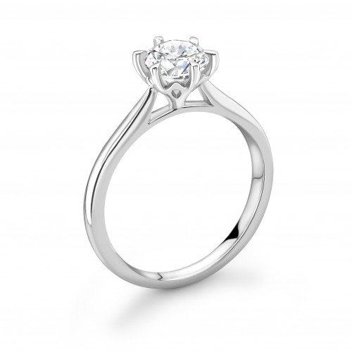 Round Diamond Crown Setting Style Solitaire Diamond Engagement Ring
