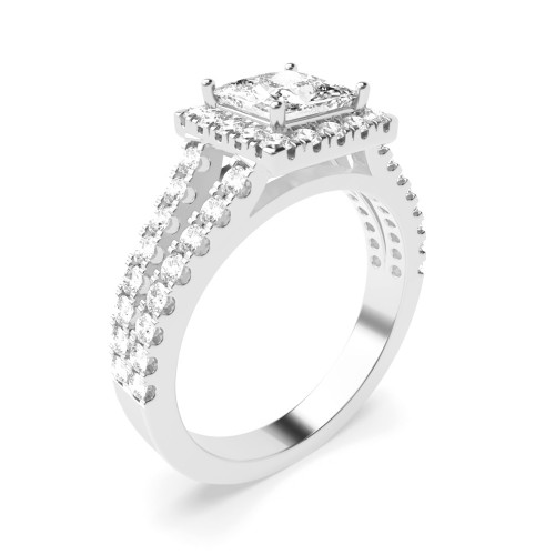 4 Prong Setting Princess Shape U Prong Set Halo Diamond Engagement Rings
