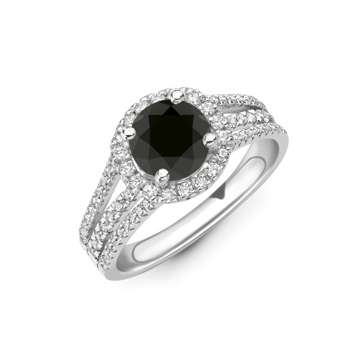 Stacking Style 3 Raw Band Halo Black Diamond Engagement Rings