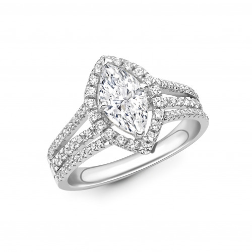 4 Prong Setting Marquise Shape 3 Raw Shoulder Halo Diamond Engagement Rings