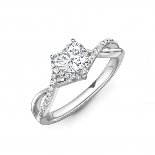 4 Prong Setting Heart Shape Intervene Shoulder Halo Diamond Engagement Rings