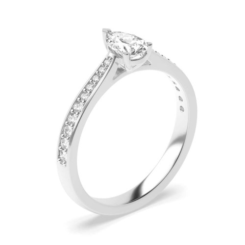 Delicate Tapering Down Shoulder Set Pear Diamond Engagement Ring